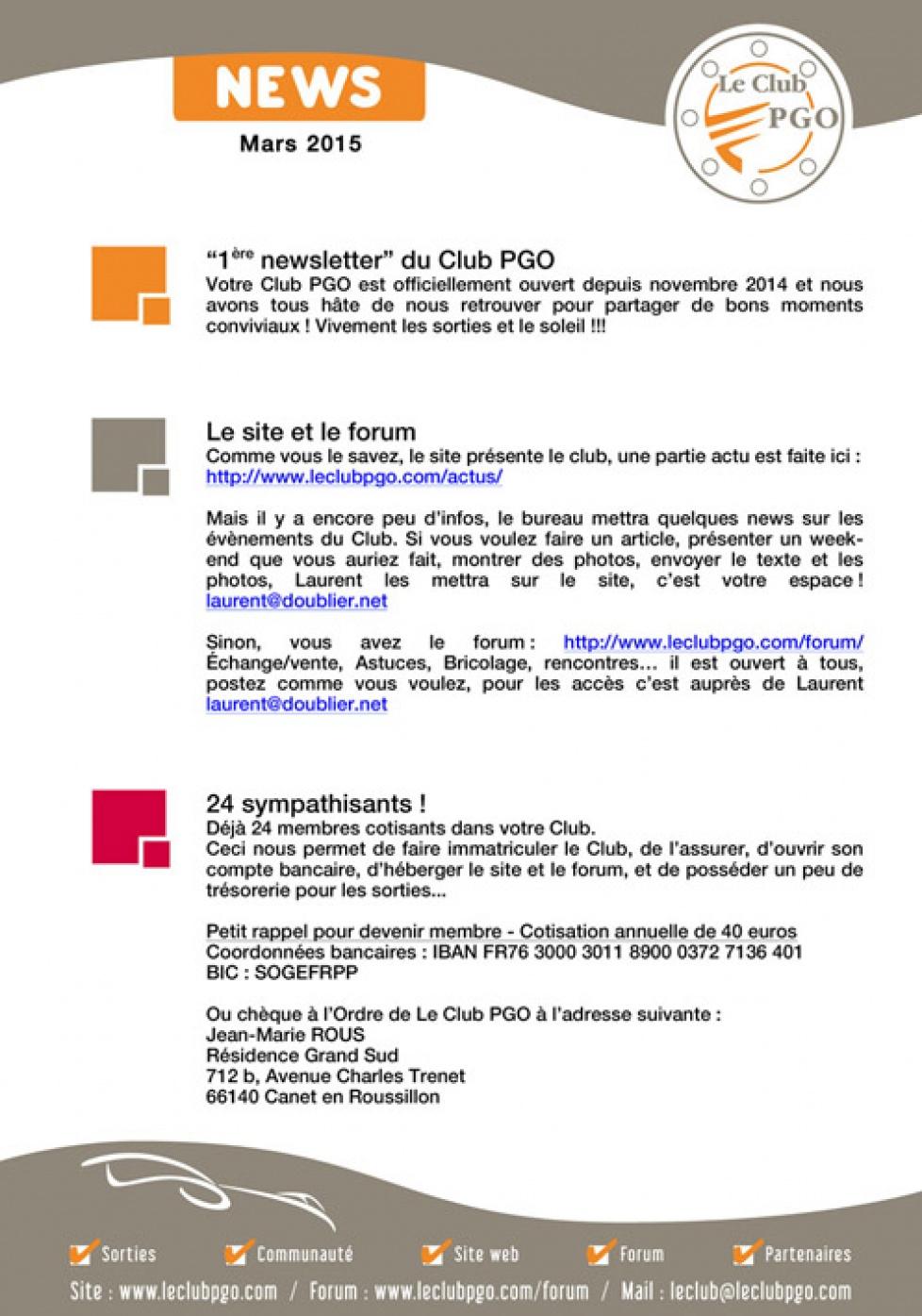 Newsletter et programme sorties 2015