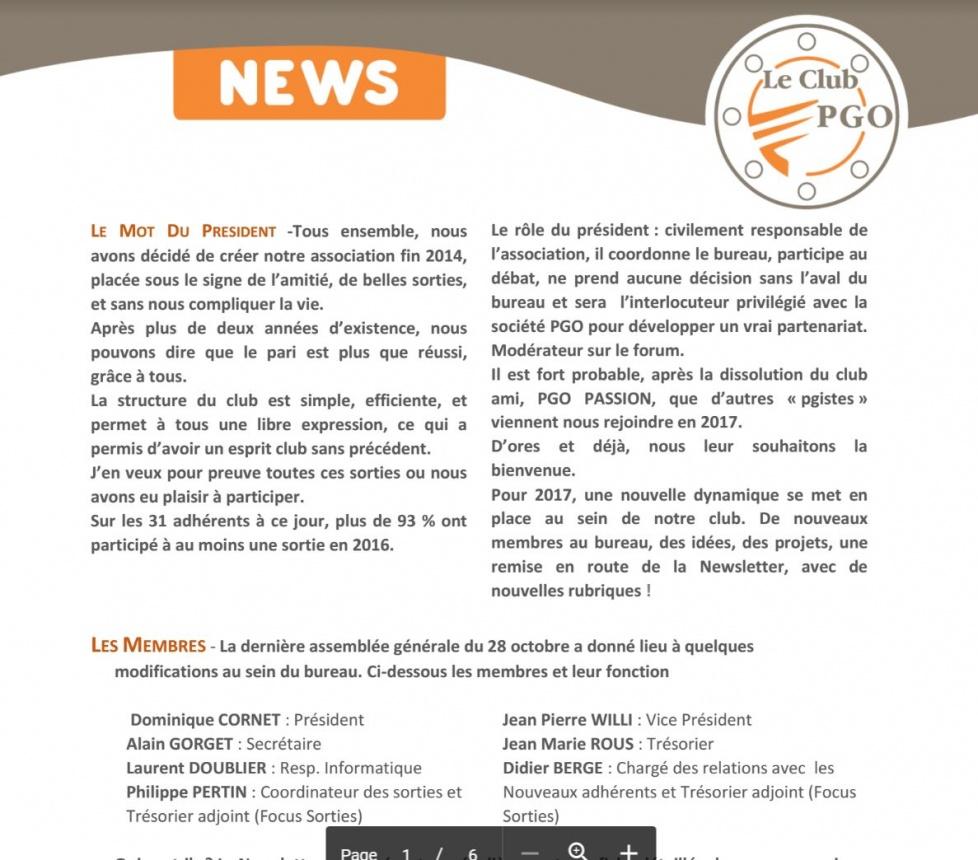 Newsletter de Décembre 2016